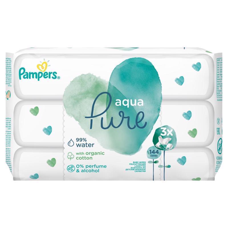 Obrúsky vlhčené Aqua Pure 3x48 ks Pampers