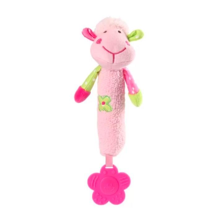 BABYONO Hračka pískací s kousátka SWEET Lamb růžová
