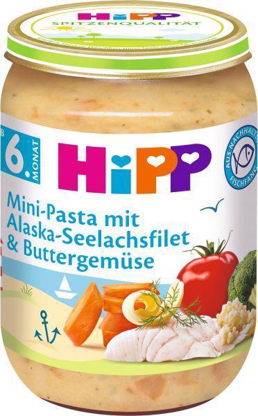 Príkrm zeleninovo-mäsový Mini cestoviny s aljašskou treskou v maslovej zelenine 190g Hipp