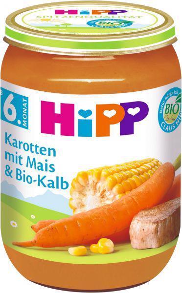 Príkrm zeleninovo-mäsový BIO Mrkva s kukuricou a teľacím mäsom 190g Hipp