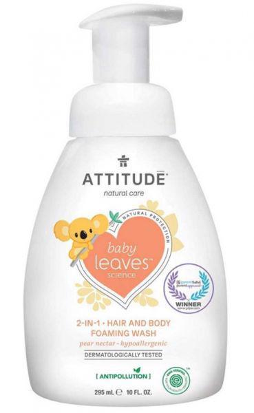 ATTITUDE Detská umývacia pena 2v1 Baby leaves s vôňou hruškovej šťavy 295 ml,  V001106
