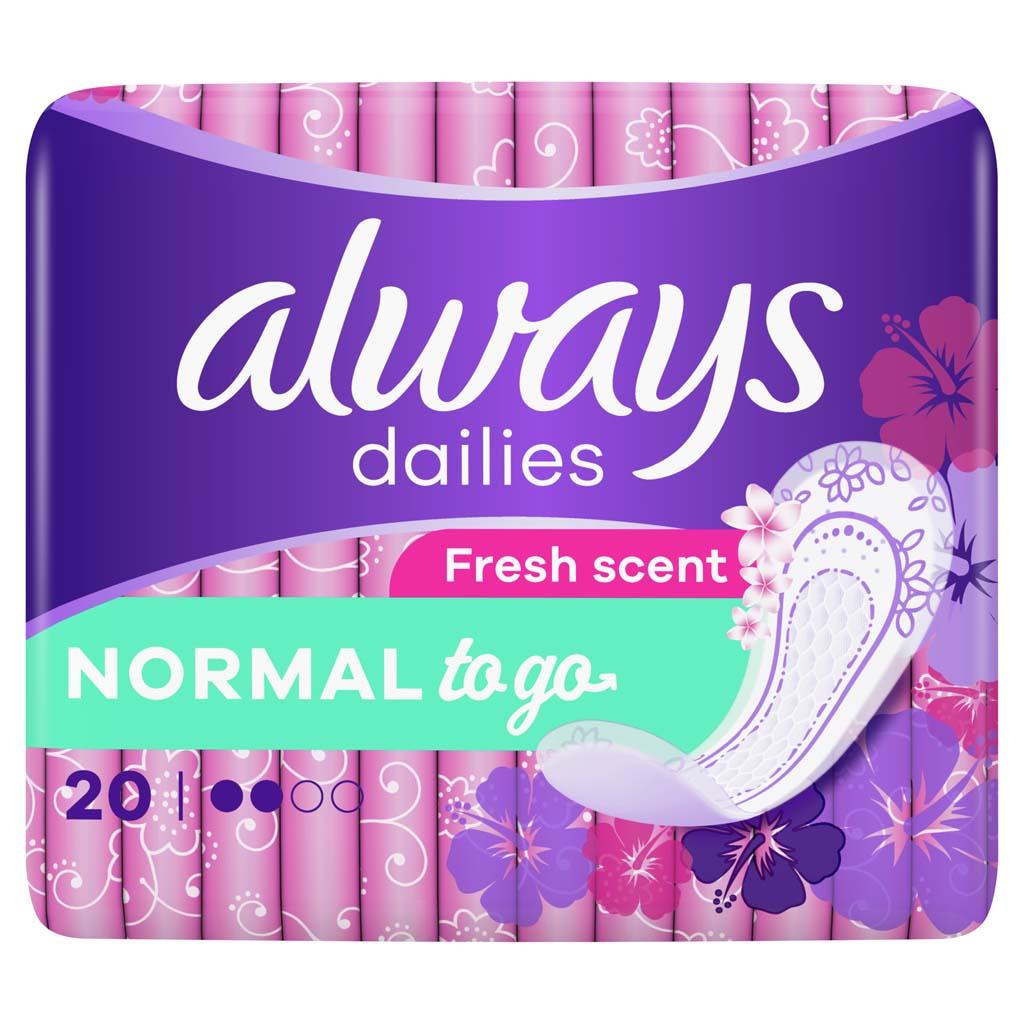 ALWAYS Dailies Normal To Go Fresh Intímky 20 ks