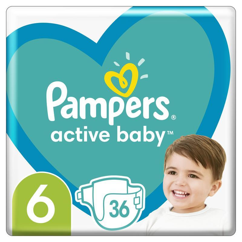 PAMPERS Active Baby jednorazové plienky veľ. 6, 36 ks, 13-18 kg,  V002382