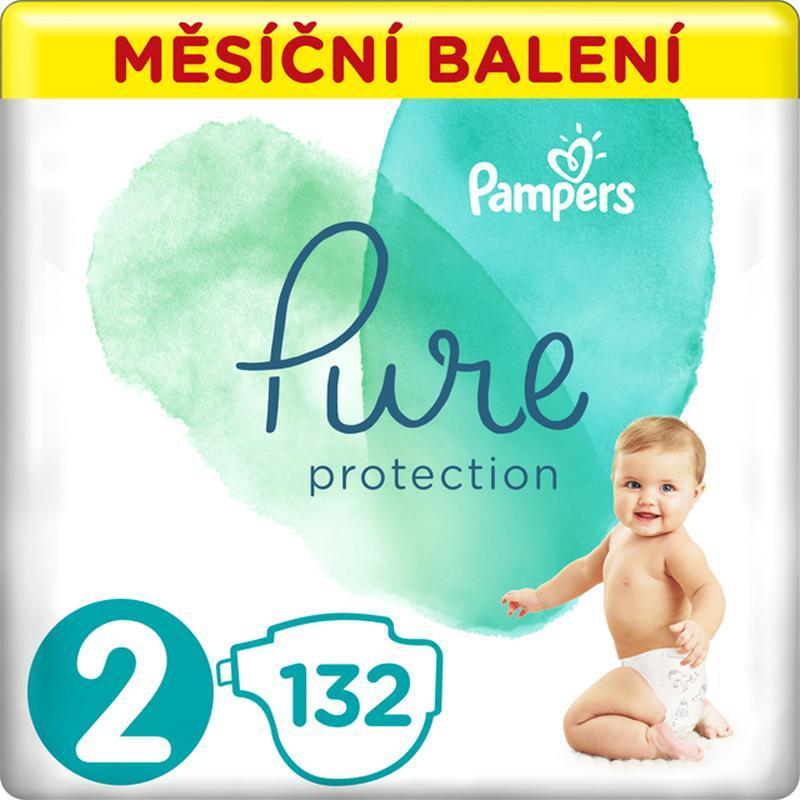 PAMPERS Pure Protection 2 (4-8 kg) 132 ks - jednorázové plienky,  V002193