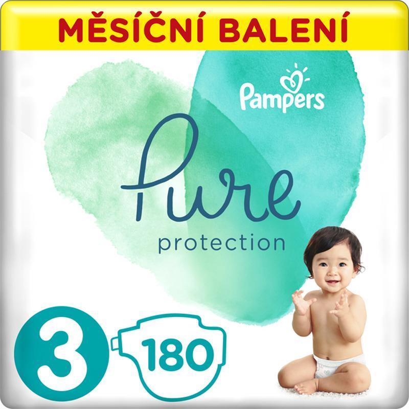 PAMPERS Pure Protection 3 (6-10 kg) 180 ks - jednorázové plienky,  V002193