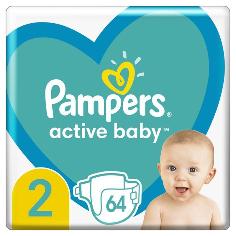 PAMPERS Active Baby jednorazové plienky veľ. 2, 64 ks, 4-8 kg,  V002368