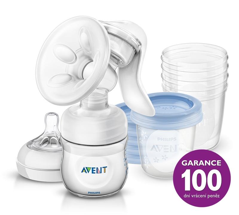 Philips AVENT Odsávačka materského mlieka Natural + 5ks VIA 180 ml,  V001057