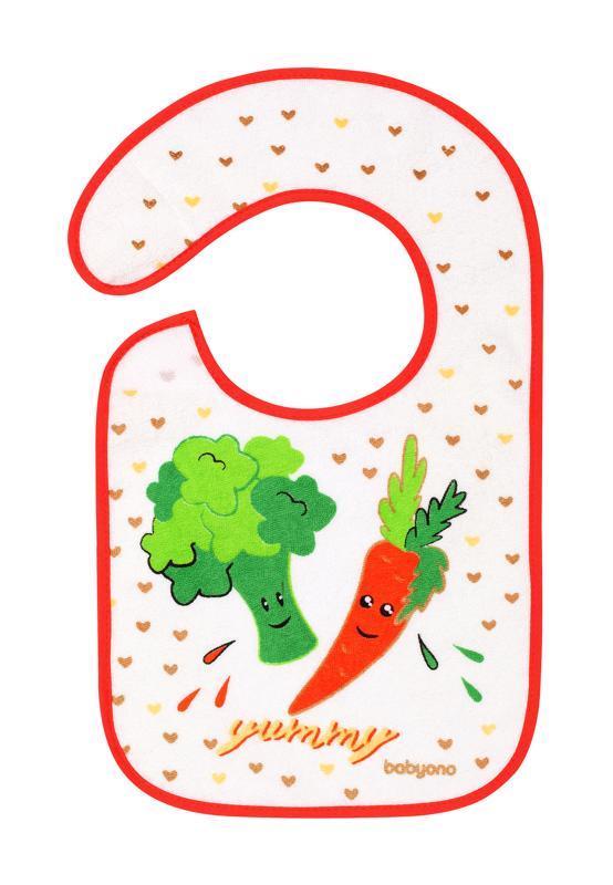 BABYONO Podbradník Froté, stredný, vodeodolný 6 m+ zelenina