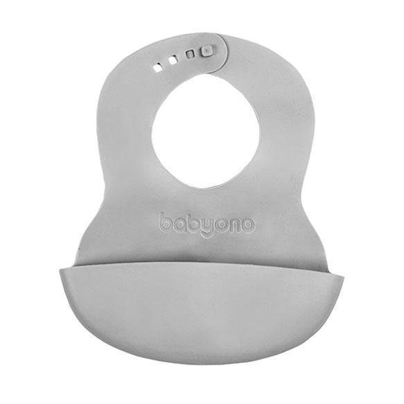 BABYONO Podbradník mäkký plastový s vreckom bez BPA šedý 6m+,  V000309