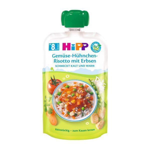 Príkrm zeleninovo-mäsový BIO Zeleninové rizoto, kuracie mäso, hrášok 130g Hipp
