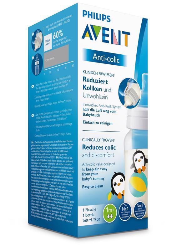 Philips AVENT Fľaša 260 ml Antikolik tučniak