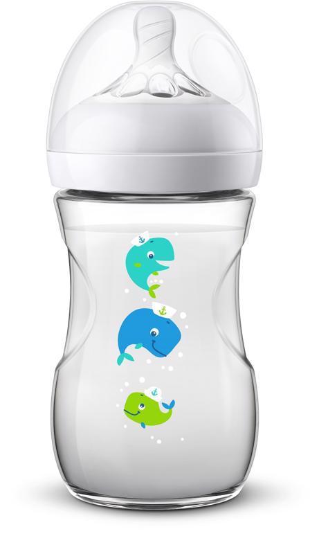 Avent fľaša 260ml Natural.2 PP veľryba,  průhledný