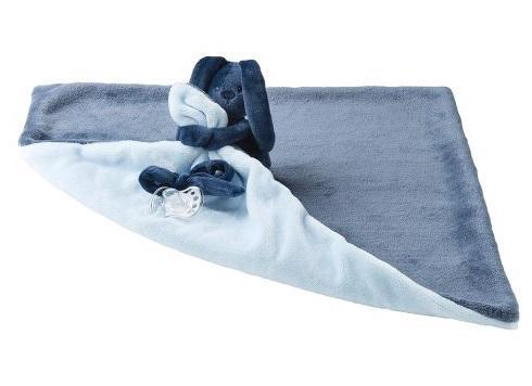 Deka plyšová s maznáčikom LAPIDOU navy blue-light blue 48cm x 48cm