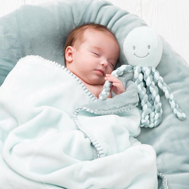 Prvá hračka bábätka chobotnička PIU PIU Lapidou light blue 0m+