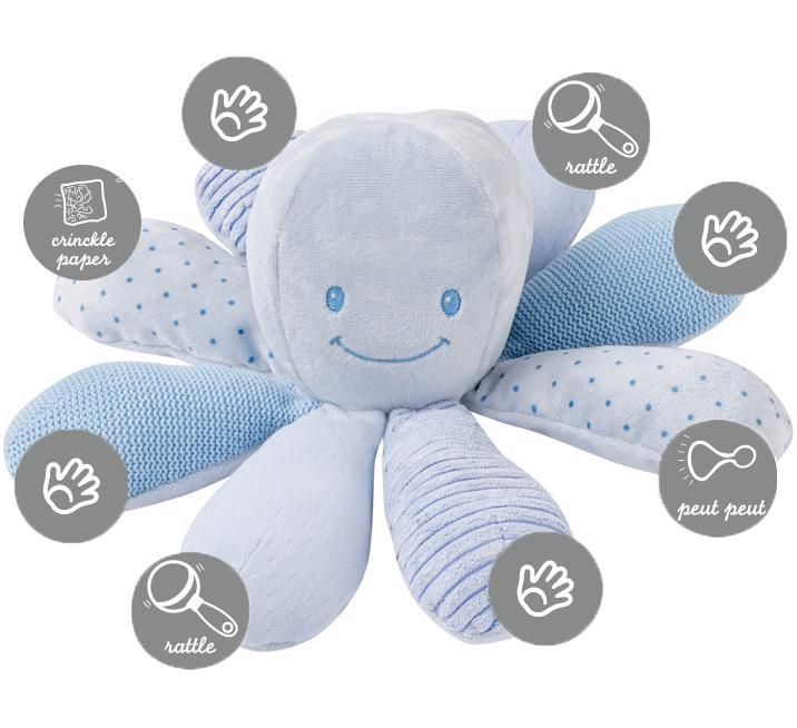 Hračka chobotnička edukačná 8 aktivít Lapidou blue