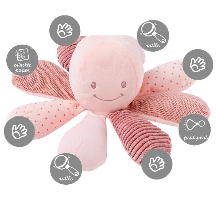 Hračka chobotnička edukačná 8 aktivít Lapidou pink