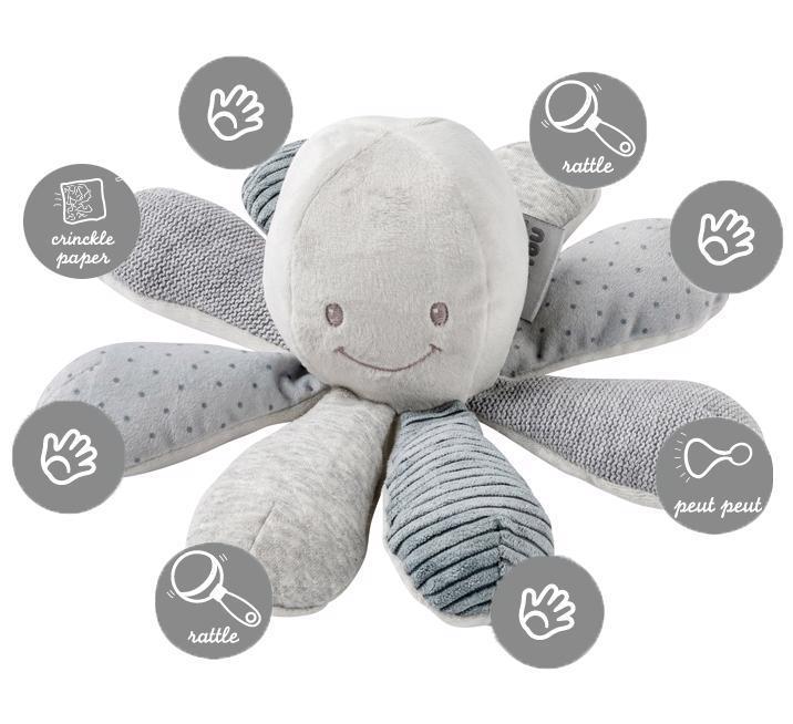 Hračka chobotnička edukačná 8 aktivít Lapidou grey