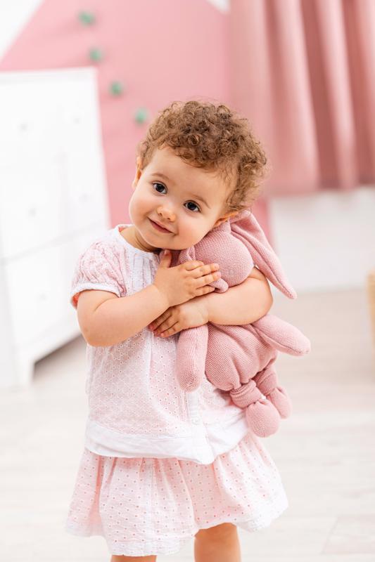 NATTOU Hračka pletená bavlnená zajačik Lapidou cuddly pink 36 cm