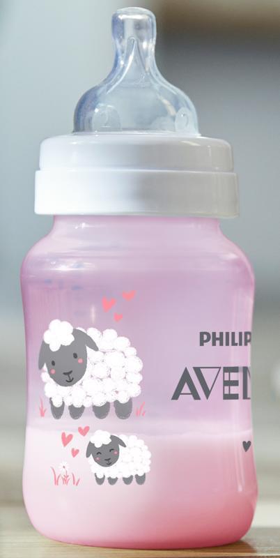 Philips AVENT Fľaša 260 ml Antikolik ružová ovečka