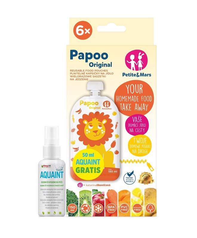 Kapsička na jedlo Papoo Original Lion 6 ks+50ml Aquaint