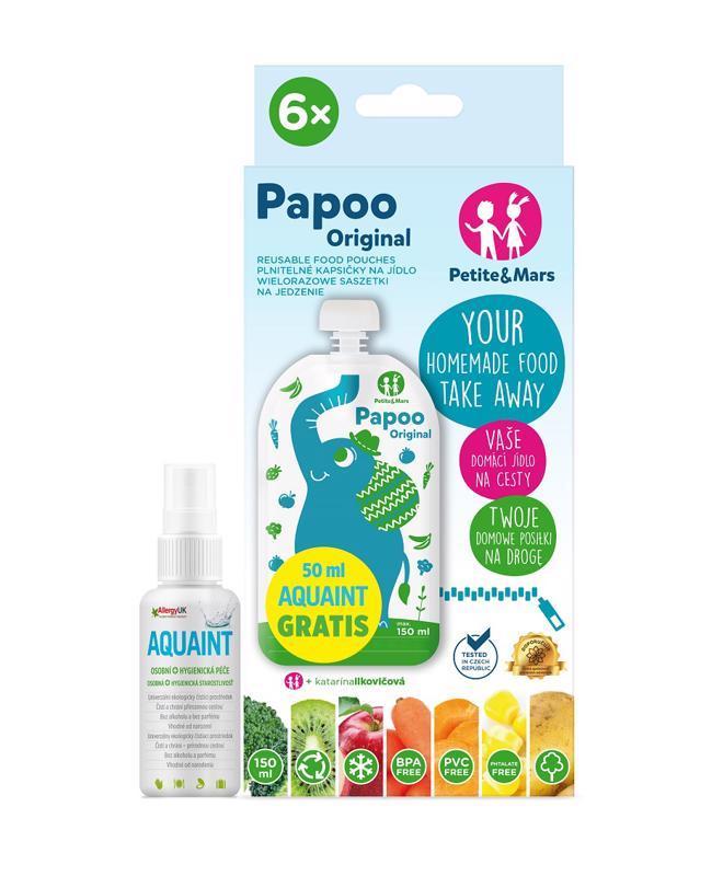 PETITE&MARS Kapsička na jedlo Papoo Original Elephant 6 ks + 50 ml Aquaint,  V000032