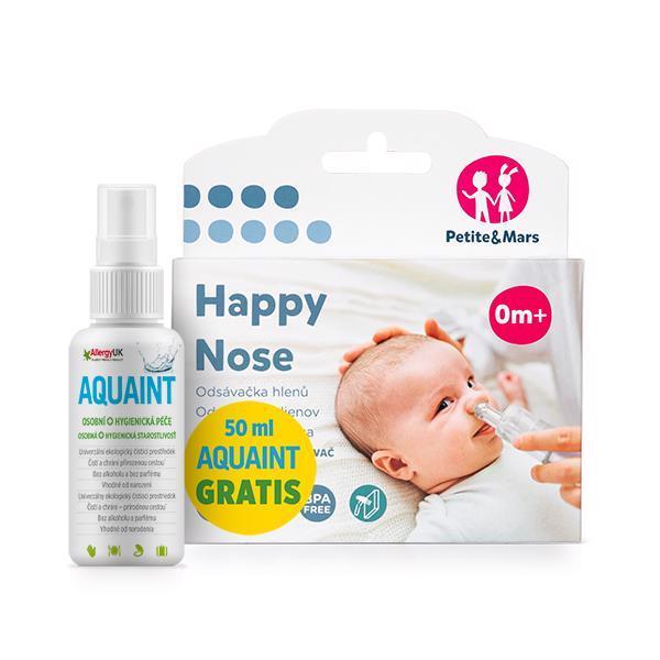 PETITE&MARS Odsávačka nosných hlienov na vysávač Happy Nose 0 m+50 ml Aquaint gratis,  V000037