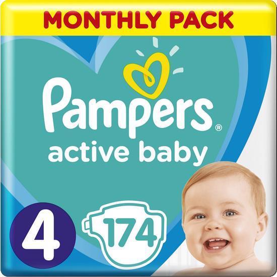 Měsíční zásoba plen Active Baby 4 MAXI 9-14 kg 174 ks Pampers