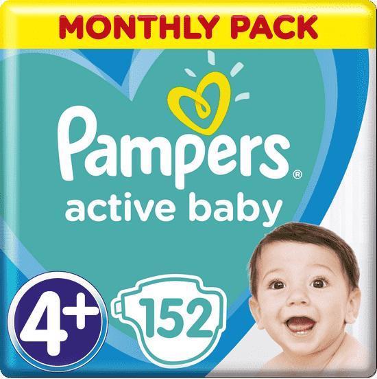 Měsíční zásoba plen Active Baby 4+ MAXI + 10-15kg 152ks Pampers