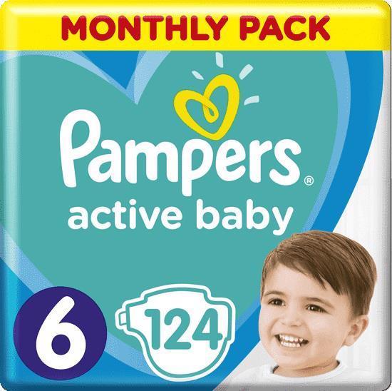 Měsíční zásoba plen Active Baby 6 EXTRA LARGE 13-18kg 124ks Pampers