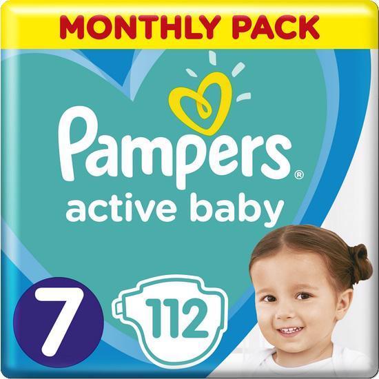 Měsíční zásoba plen Active Baby 7 EXTRA LARGE 15kg + 112ks Pampers