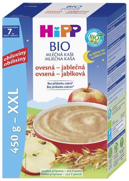 Kaša na dobrú noc BIO mliečna ovseno-jablčná 450g Hipp