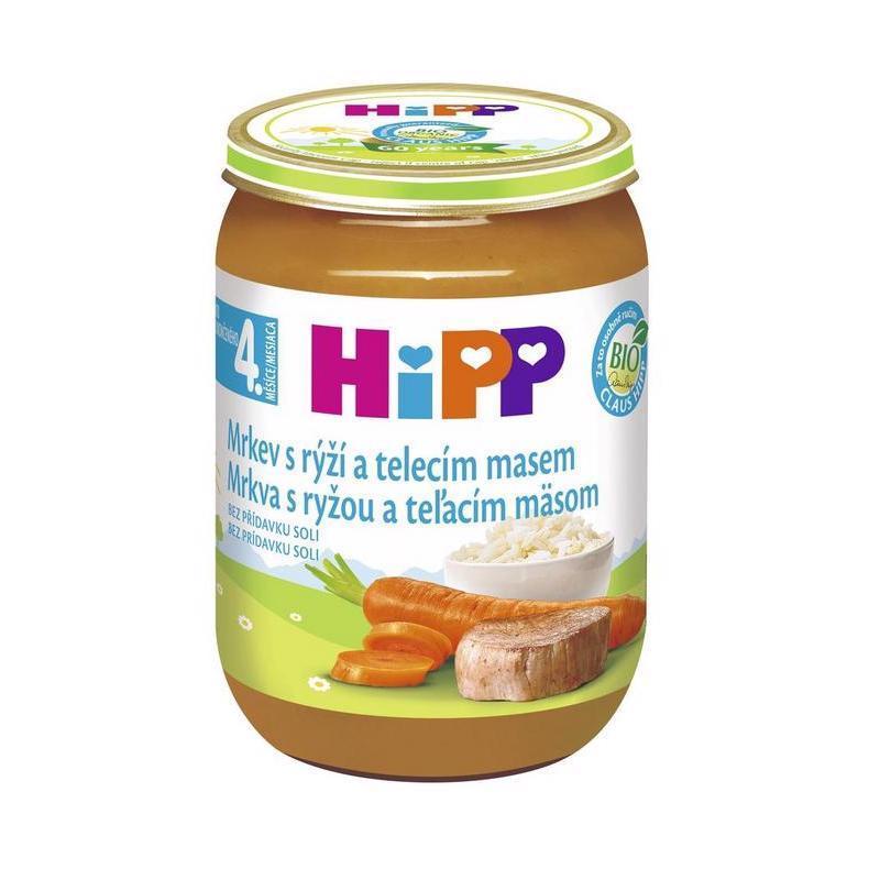 HIPP BIO Karotka s ryžou a teľacím mäsom (190 g) - mäsovo-zeleninový príkrm