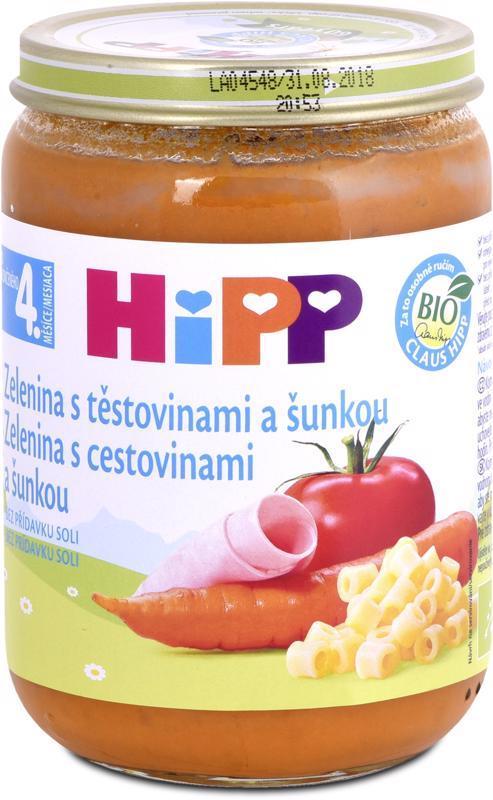 Príkrm zeleninovo-mäsový BIO Zelenina s cestovinami a šunkou 190g Hipp