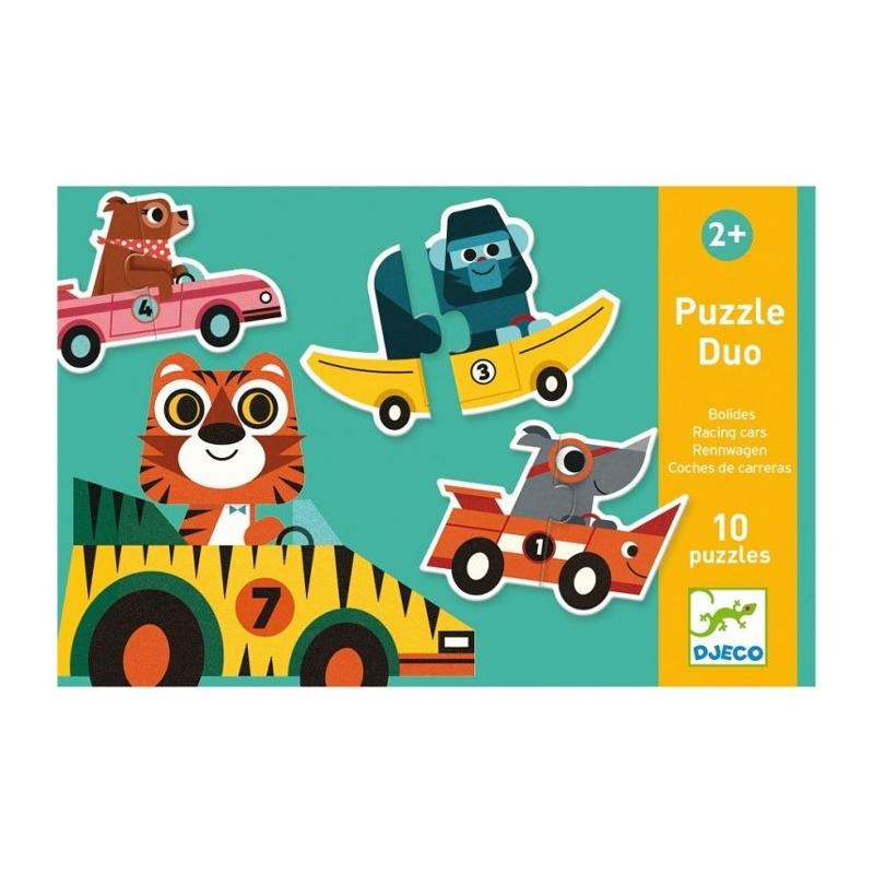 DJECO Duo puzzle Pretekárske autá,  V001818