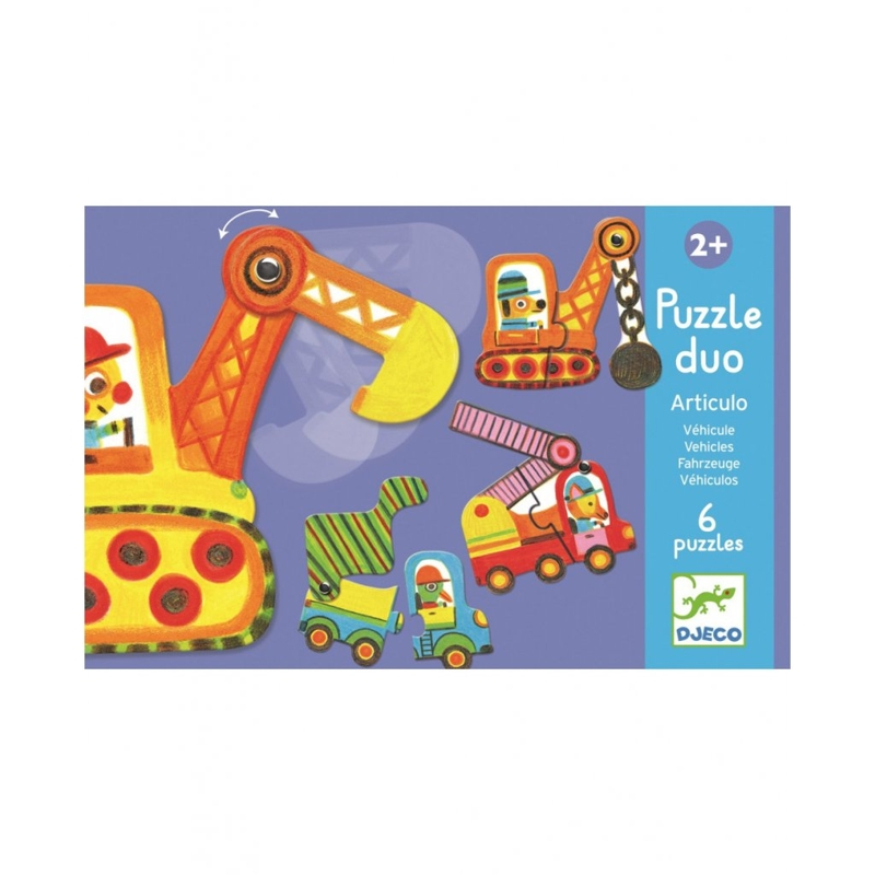 DJECO Duo puzzle Autíčka v pohybe,  V001818