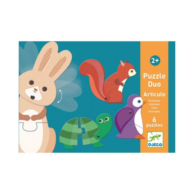 DJECO Duo puzzle Zvieratká v pohybe,  V001818