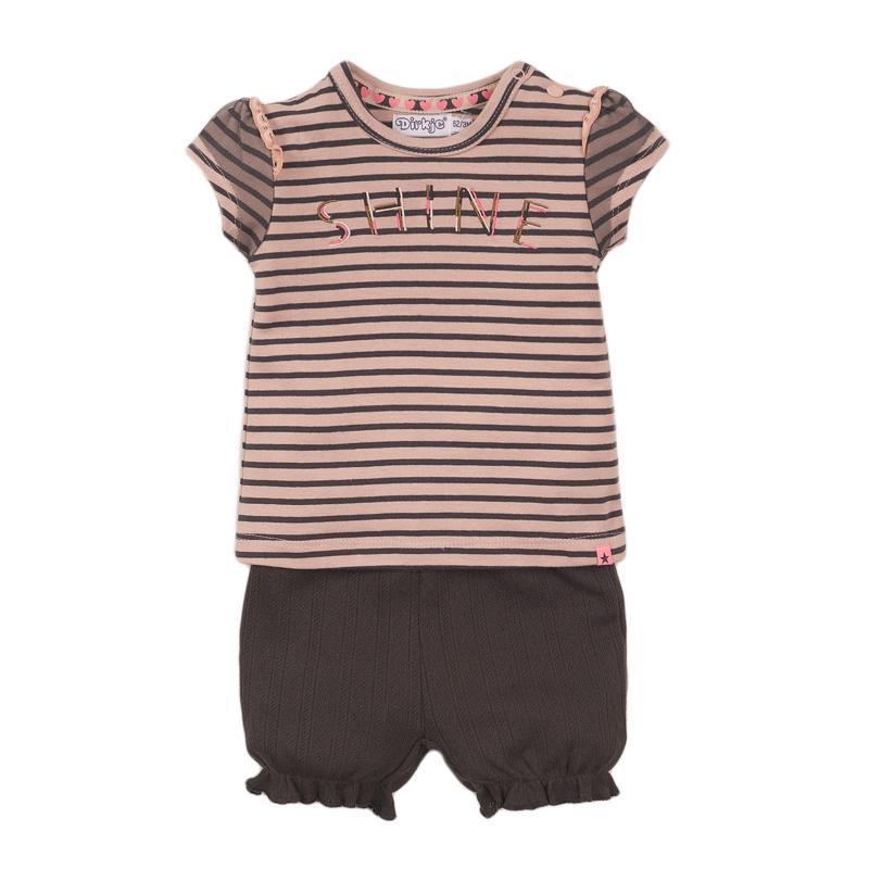 DIRKJE Set 2dielny kr. nohavice 68 Smokey Pink+Stripe+Smokey Grey