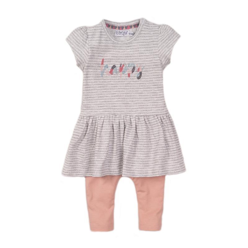 DIRKJE Set 2dielny šaty 68 Grey Melange+Dusty Pink