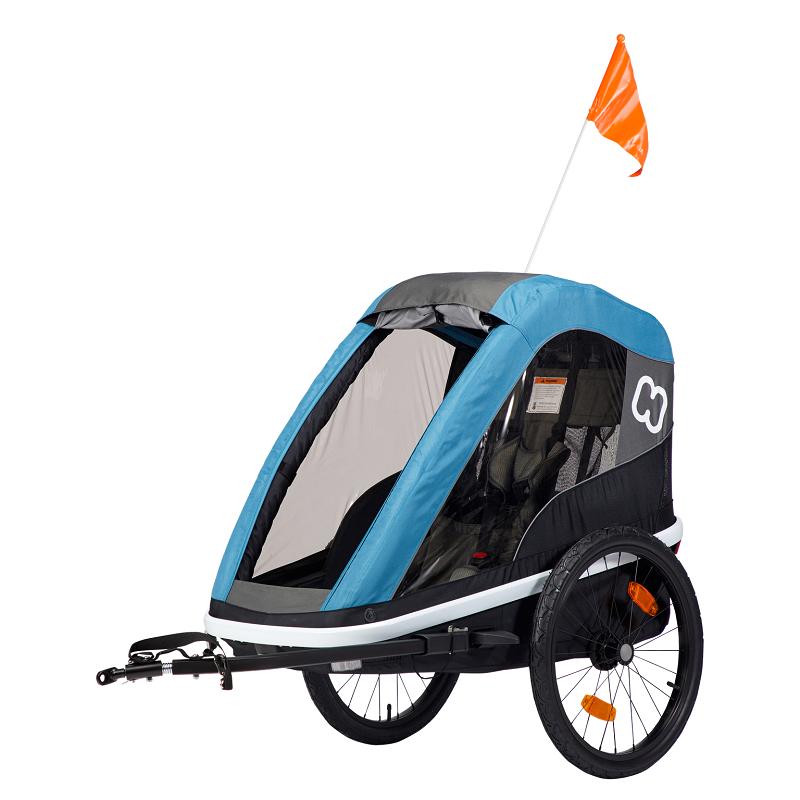 HAMAX Avenida One - jednomiestny vozík za kolo vr. ramena + kočíkový set Petrol Blue, odpružený