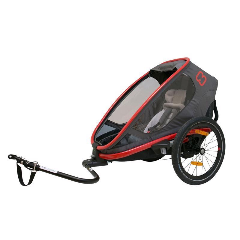 HAMAX Outback One - jednomiestny vozík za bicykel vr. ramená + kočíkovú set - Grey/Red/Antr, polohov,  V001378