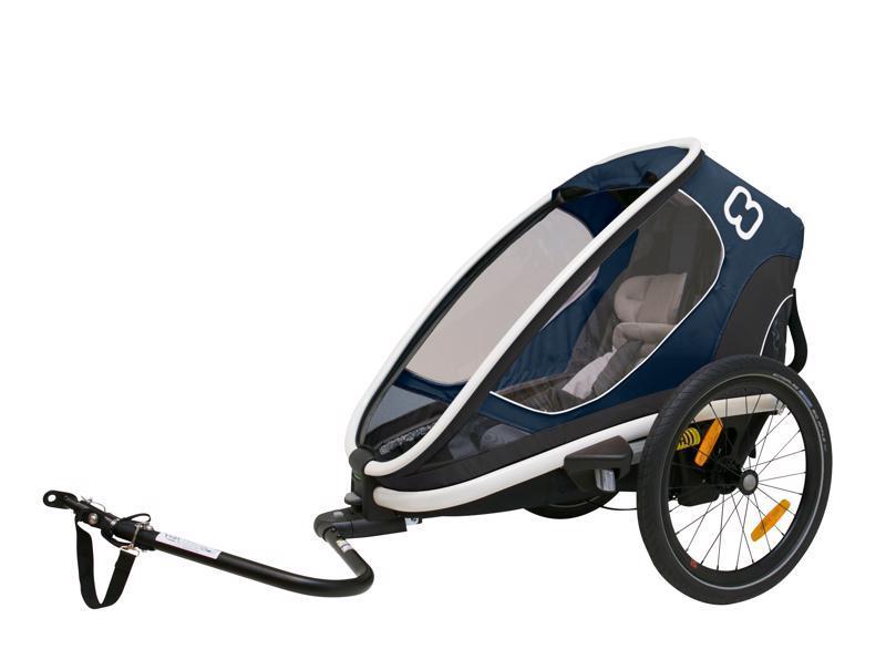 OUTBACK ONE - jednomístný vozík za kolo vč. ramena + kočárkový set navy modrá polohovací