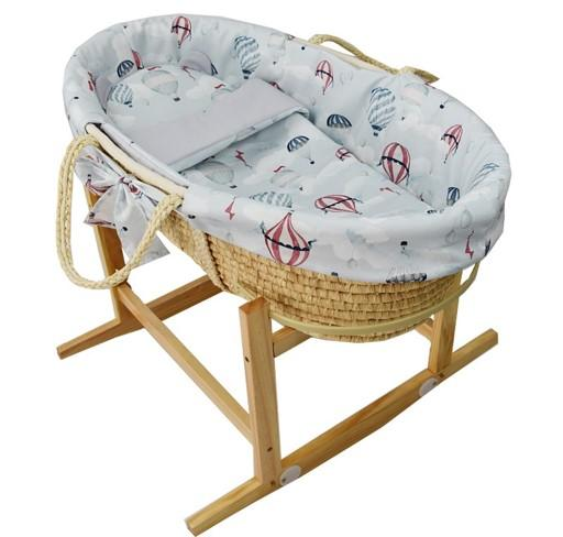 EKO Kôš Mojžišov pre bábätko Natural so stojanom matrac + príslušenstvo Ballons,  V000593