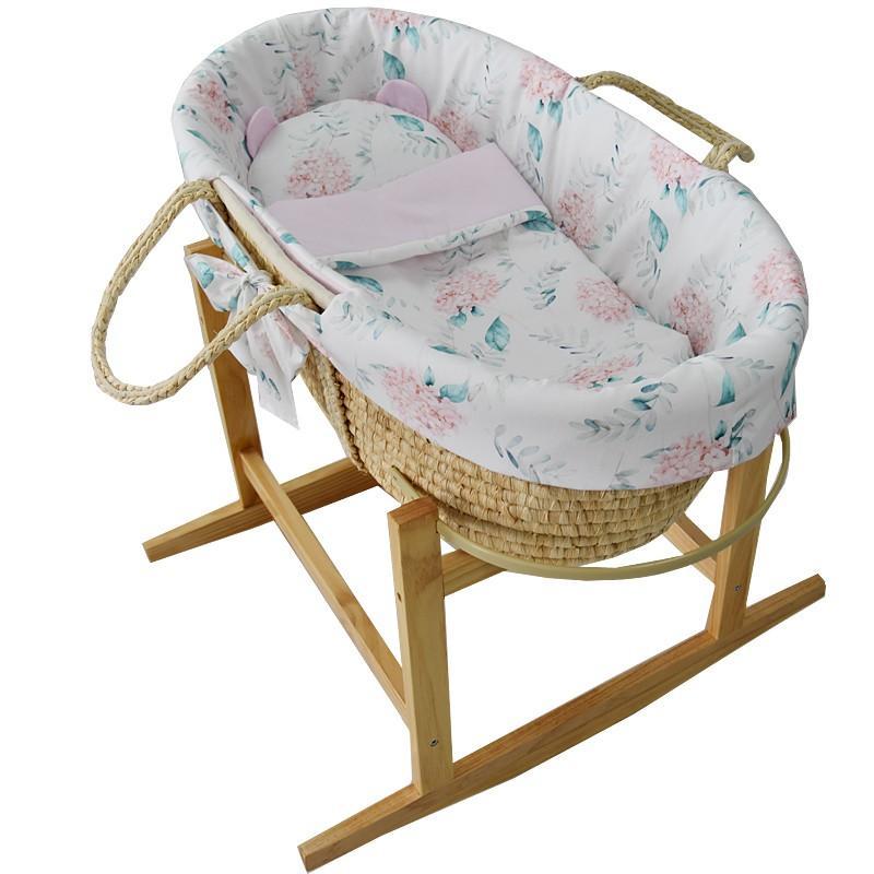EKO Kôš Mojžišov pre bábätko Natural so stojanom matrac + príslušenstvo Hydrangea,  V000593