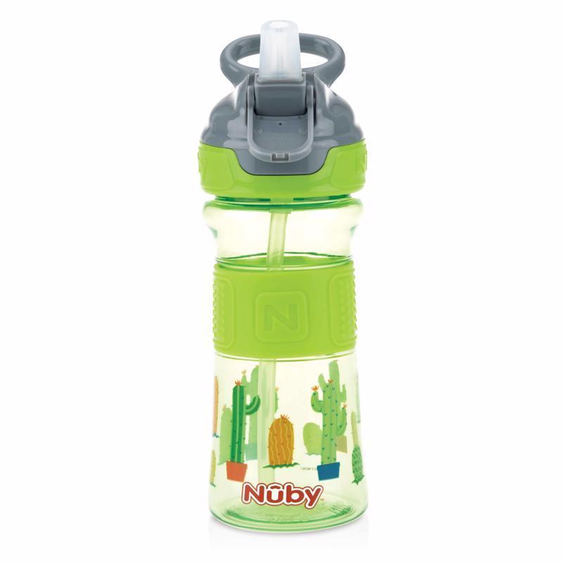 NUBY Fľaša športová s mäkkou sklopiteľnou slamkou 360 ml, zelená, 3+