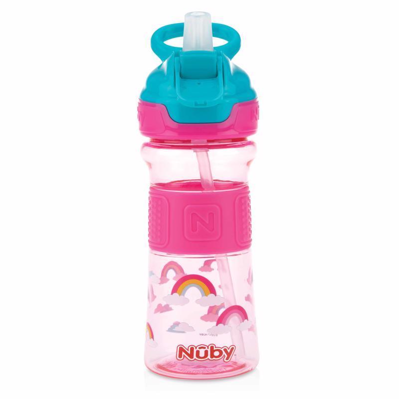 Fľaša športová s mäkkou sklopiteľnou slamkou 360ml, ružová, 3+