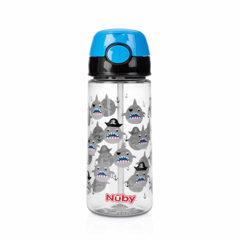 NUBY Fľaša športová netečúca so slamkou 530 ml, čierna, 3+