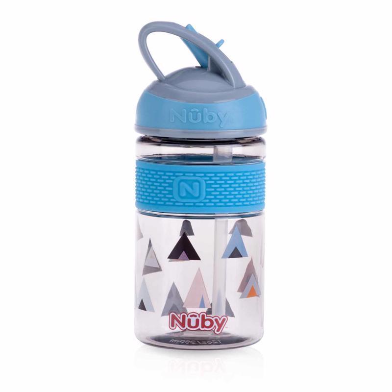 Fľaša športová 2v1 s tvrdou sklopiteľnou slamkou, 360ml, modrá, 3+