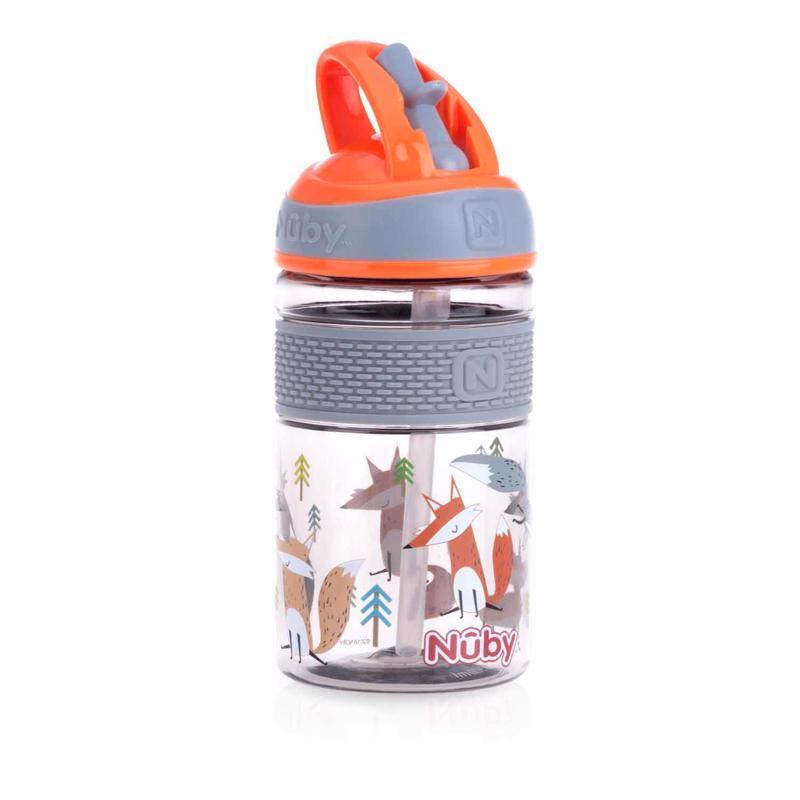 Fľaša športová 2v1 s tvrdou sklopiteľnou slamkou, 360ml, oranžová, 3+