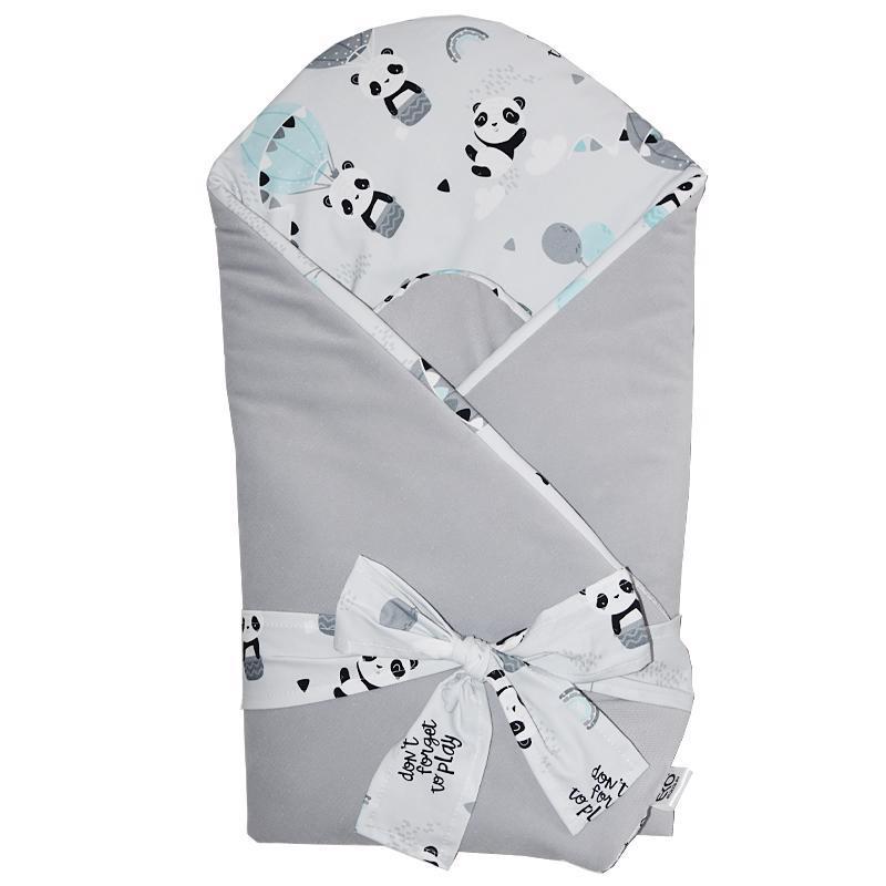 Zavinovačka bavlnená VELVET Panda Grey 75x75cm