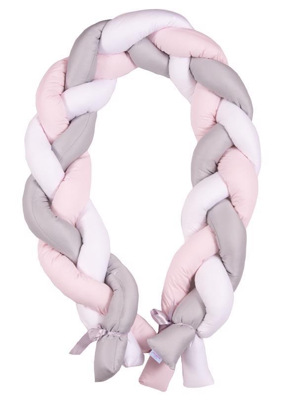 Mantinel do postieľky Vrkoč 200cm biela-sivá-ružová